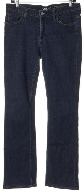 7 FOR ALL MANKIND Blue Stretch Cotton High Waist Boot Cut Jeans