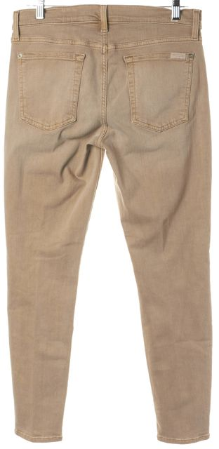 7 FOR ALL MANKIND Beige Skinny Ankle Mid Rise Stretch Jeans