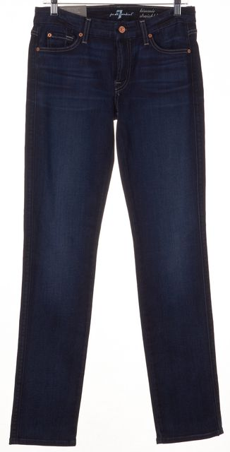 7 FOR ALL MANKIND Blue Mid-Rise Kimmie Straight Leg Jeans