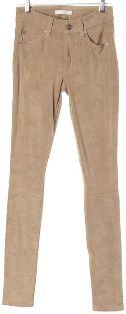 7 FOR ALL MANKIND Beige The Sueded Skinny Leggings Stretch Pants