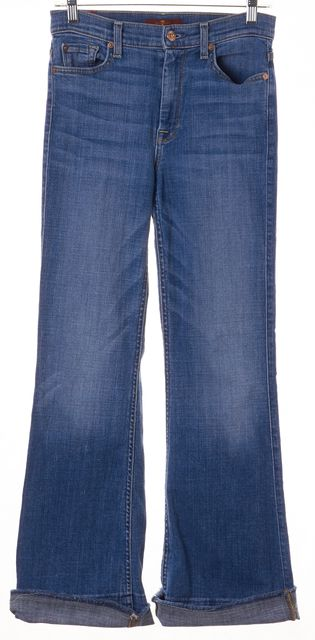 7 FOR ALL MANKIND Blue High Waist Cutoff Flare Jeans