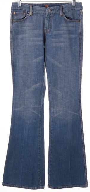 7 FOR ALL MANKIND Blue A Embellished Pocket Mid-Rise Flare Jeans