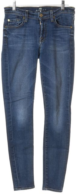 7 FOR ALL MANKIND Blue Medium Wash Skinny Jeans