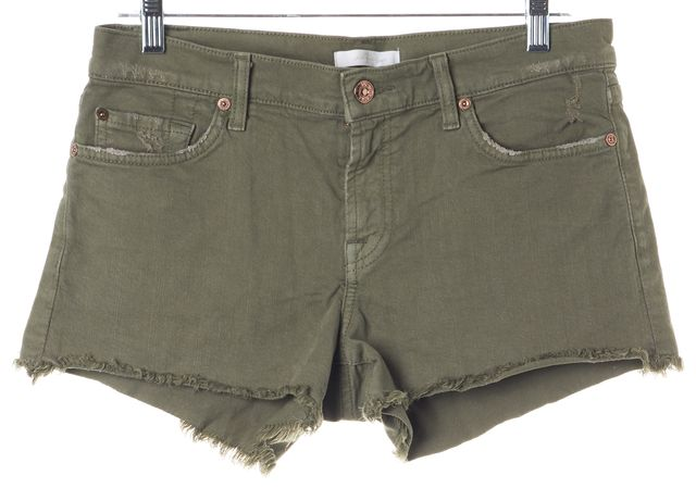 7 FOR ALL MANKIND Olive Green Mini Short Shorts