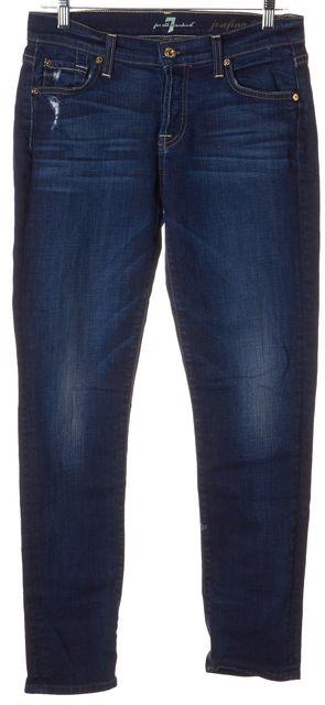 7 FOR ALL MANKIND Blue Josefina Boyfriend Skinny Mid-Rise Jeans