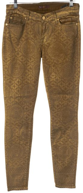 7 FOR ALL MANKIND Mustard Yellow Abstract Graphic Mid-RIse Skinny Jeans