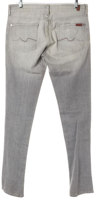 7 FOR ALL MANKIND Gray Roxanne Mid-Rise Straight Leg Jeans
