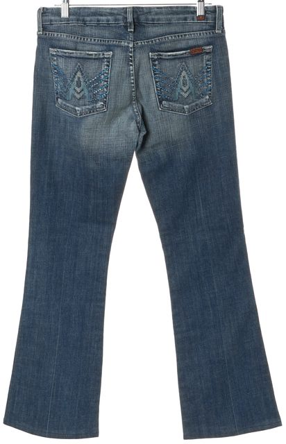 7 FOR ALL MANKIND Blue Stud Embellished A Pocket Boot Cut Jeans