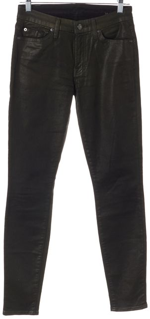 7 FOR ALL MANKIND Green Black Coated Jean Leggings Pants