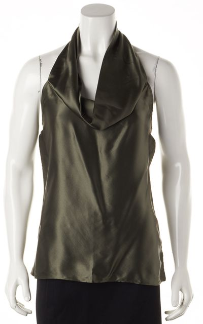 7 FOR ALL MANKIND Forrest Green Silk Cowl Neck Halter Top