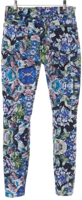 7 FOR ALL MANKIND Blue Floral Abstract Five Pocket Leggings Pants
