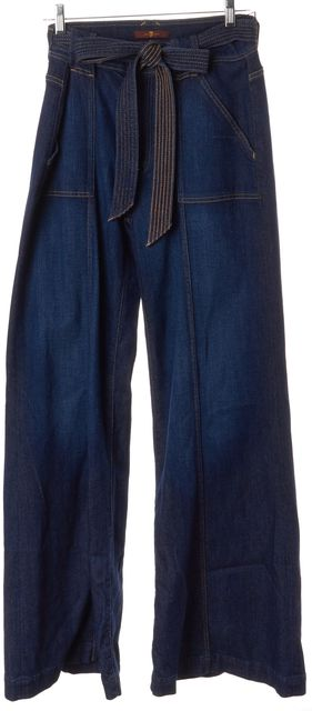 7 FOR ALL MANKIND Blue Belt Tied High Waist Palazzo Flare Jeans