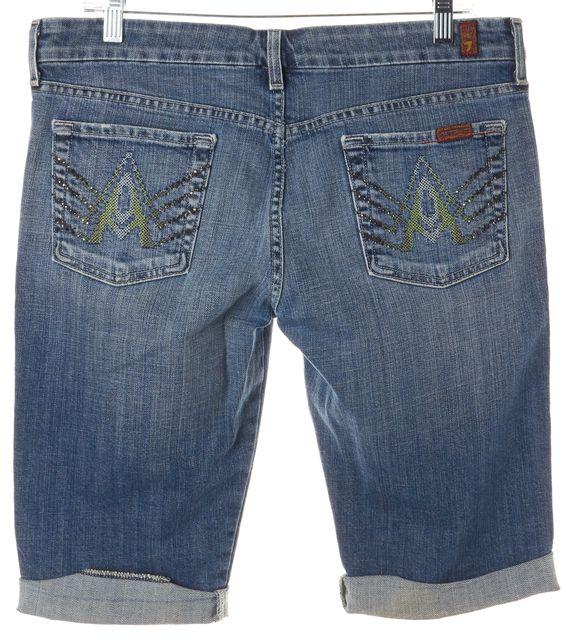 7 FOR ALL MANKIND Blue Embellished Pocket Denim Bermuda, Walking Shorts