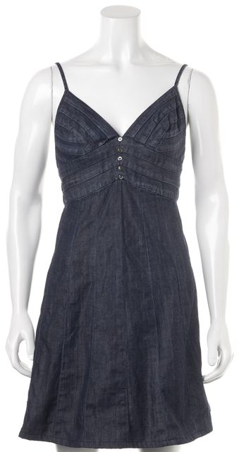 7 FOR ALL MANKIND Blue Cotton Denim Empire Waist Dress