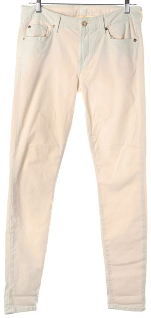 7 FOR ALL MANKIND Ivory Stretch Cotton Mid-Rise Skinny Jeans
