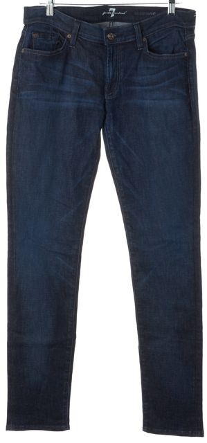 7 FOR ALL MANKIND Blue Roxanne Mid-Rise Straight Leg Jeans