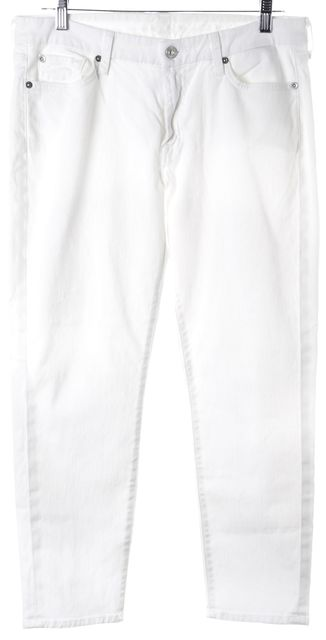 7 FOR ALL MANKIND White Slim Fit Cropped Jeans