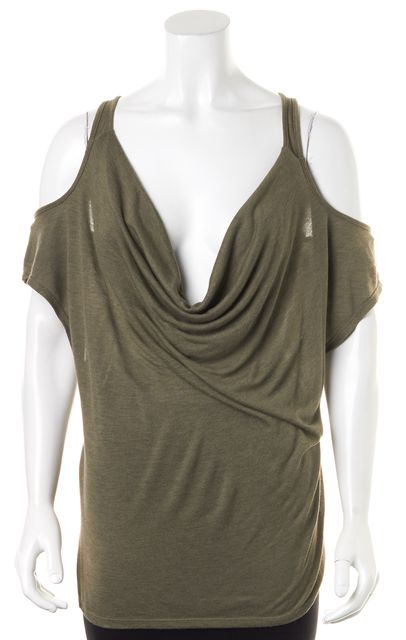 7 FOR ALL MANKIND Green Cowl Neck Cold Shoulder Blouse Top