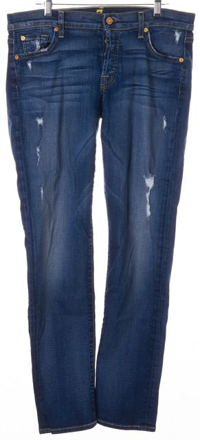 7 FOR ALL MANKIND Blue Distressed Low-Rise Skinny Jeans