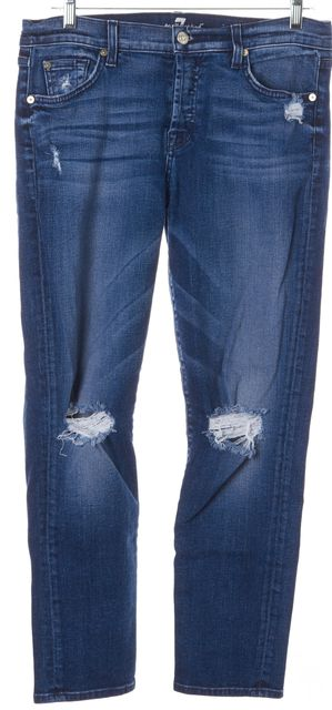 7 FOR ALL MANKIND Blue Distressed Josefina Skinny Boyfriend Jeans