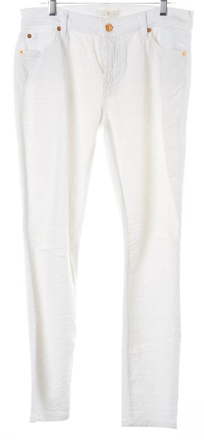 7 FOR ALL MANKIND White Paisley Stitch Mid-Rise Skinny Jeans