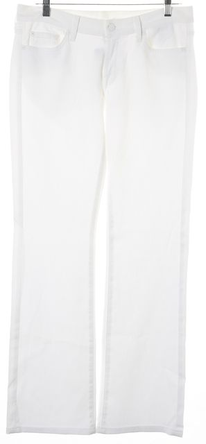 7 FOR ALL MANKIND White Mid-Rise Five Pocket Boot Cut Jeans