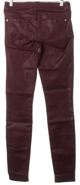 7 FOR ALL MANKIND Waxed Burgundy Red Stretch Cotton Skinny Jeans