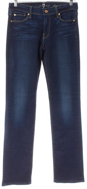 7 FOR ALL MANKIND Blue Stretch Cotton Dark Wash Straight Leg Jeans