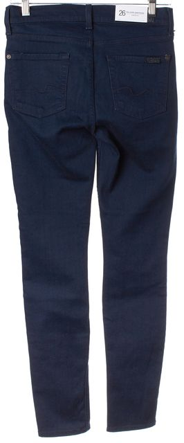 7 FOR ALL MANKIND Blue Stretch Cotton Ankle Gwenevere Skinny Jeans