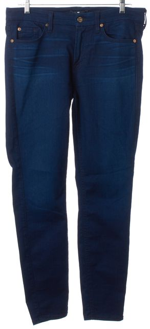 7 FOR ALL MANKIND Blue Dark Wash Stretch Denim The Ankle Skinny Jeans