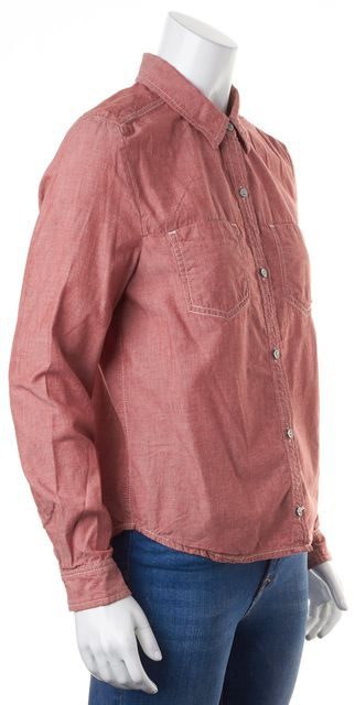 7 FOR ALL MANKIND Light Red Casual Long Sleeve Button Down Shirt Top