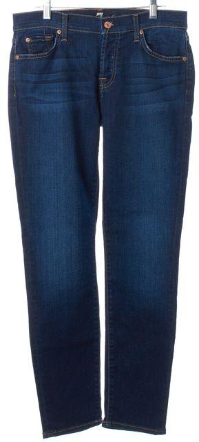 7 FOR ALL MANKIND Blue Medium Wash Josefina Skinny Boyfriend Jeans