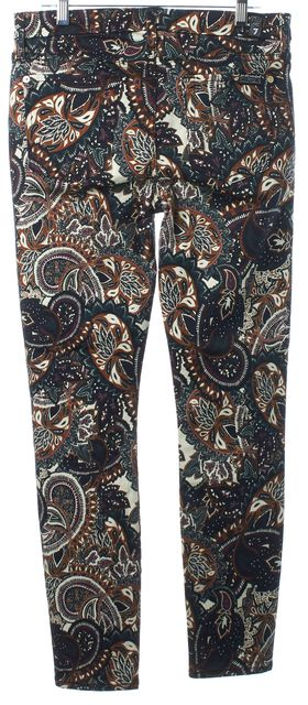 7 FOR ALL MANKIND Navy Green Purple Brown Paisley Mid Rise Skinny Jeans