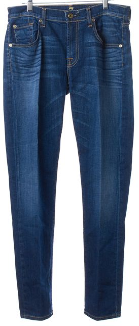 7 FOR ALL MANKIND Blue Dark Wash The Relaxed Skinny Jeans