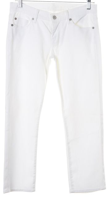 7 FOR ALL MANKIND White Cotton Denim Straight Leg Cropped Jeans