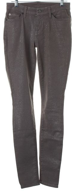 7 FOR ALL MANKIND Medium Gray Glitter Brushed Skinny Jeans