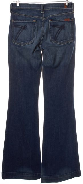 7 FOR ALL MANKIND Blue Stretch Cotton Mid-Rise Wide Leg Jeans