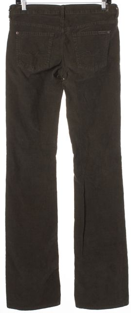 7 FOR ALL MANKIND Green Stretch Cotton Bootcut Corduroys Pants