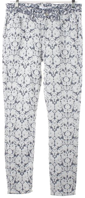7 FOR ALL MANKIND Blue White Floral Embroidered Mid-Rise Skinny Pants