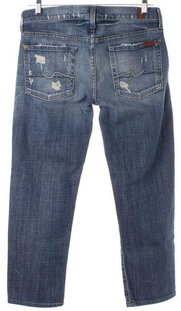 7 FOR ALL MANKIND Blue Medium Wash Distressed Crop Straight Leg Jeans