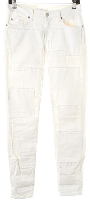 7 FOR ALL MANKIND White Patchwork Mid-Rise Skinny Jeans