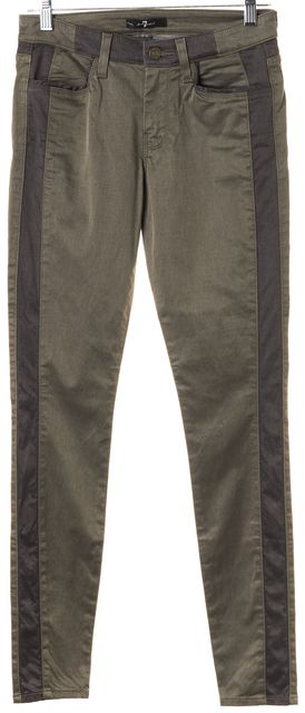 7 FOR ALL MANKIND Taupe Brown Stretch Cotton Sateen Skinny Trouser Pants