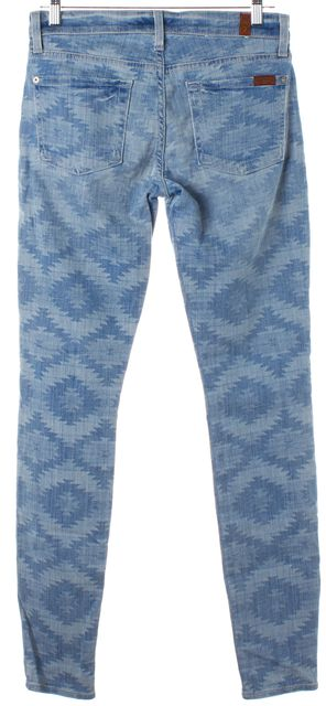 7 FOR ALL MANKIND Blue Abstract Print Mid-Rise Skinny Jeans