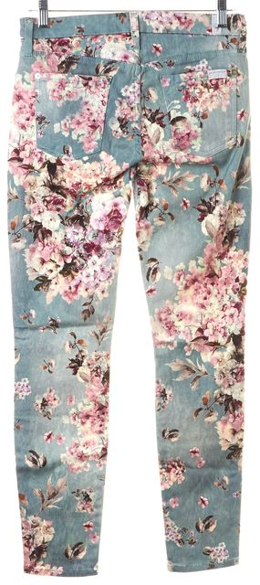 7 FOR ALL MANKIND Blue Floral Print Mid-Rise Skinny Jeans