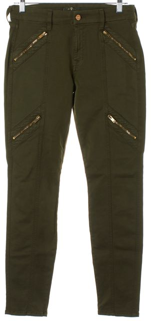 7 FOR ALL MANKIND Army Green Gold Zipper Detail Mid-Rise Skinny Jeans
