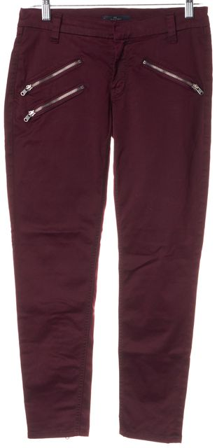 7 FOR ALL MANKIND Red Burgundy Ankle Zip Mid-Rise Skinny Jeans