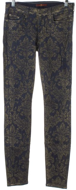 7 FOR ALL MANKIND Dark Navy Blue Brown Tapestry Print Skinny Jeans