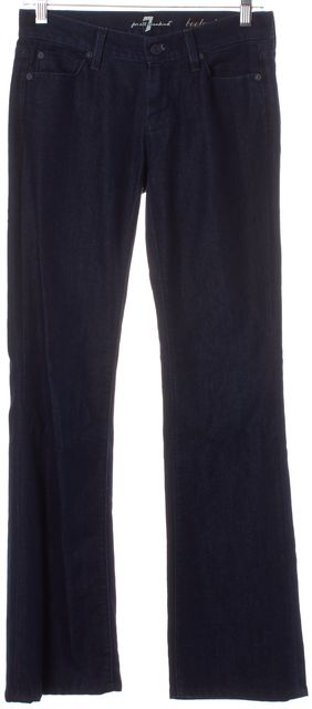 7 FOR ALL MANKIND Navy Blue Dark Wash Boot Cut Mid-Rise Jeans