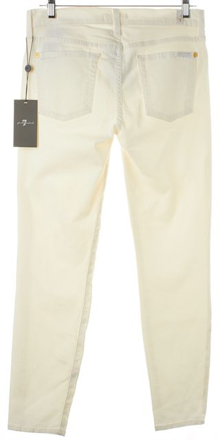 7 FOR ALL MANKIND White Jacquard Embroidered Skinny Jeans