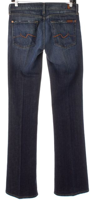 7 FOR ALL MANKIND Navy Blue Medium Wash Wide Leg Boot Cut Jeans